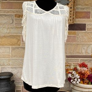 XXI Lace Neck Gathered Sleeve Top